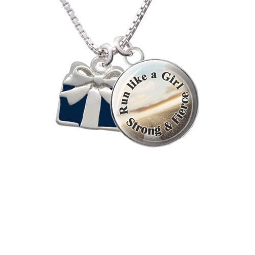 """Blue Present Run Like a Girl Glass Dome Necklace, 18""""+2"""""""