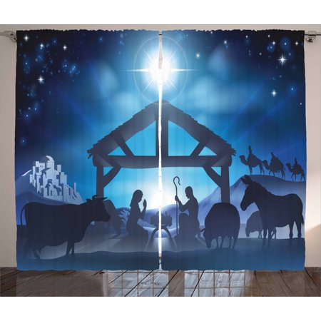 Blue Curtains 2 Panels Set, Traditional Scene of Nativity Bethlehem with Christmas Star Joseph Mary, Window Drapes for Living Room Bedroom, 108W X 63L Inches, Grey Dark Blue Sky Blue, by Ambesonne
