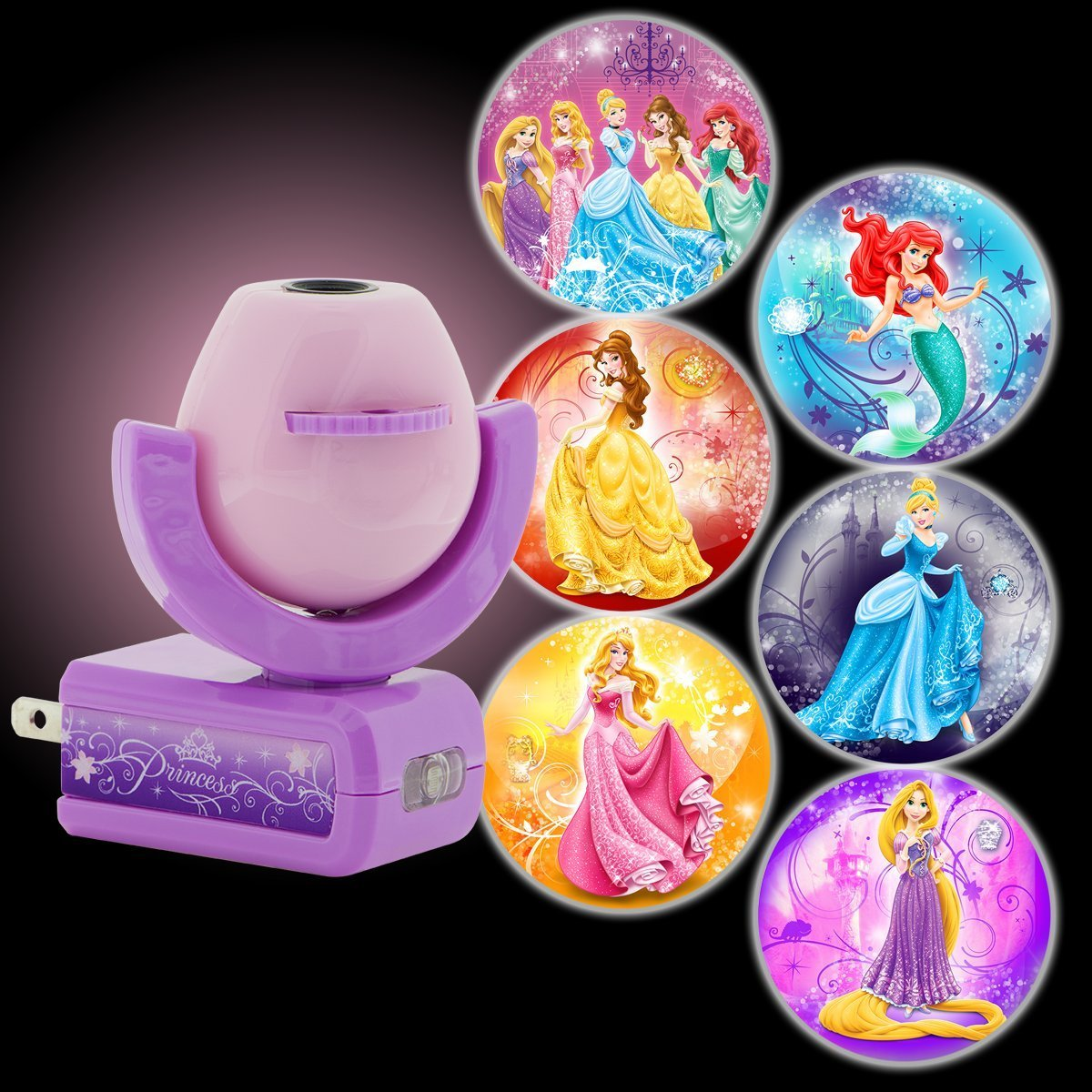 Projectables Disney Princesses 6-Image Plug-In LED Night Light, Light Sensing, 11738