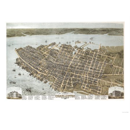 Charleston, South Carolina - Panoramic Map Print Wall Art By Lantern Press
