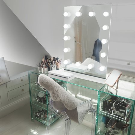 Diamond X Table Top Hollywood Vanity Mirror with Dimmable LED k412sLED](Mirror Tables)