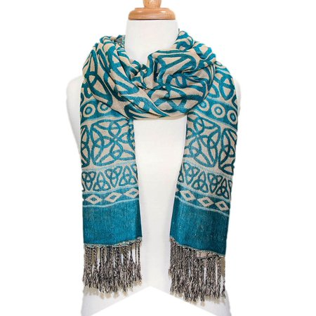 Ladies Celtic Knot Scarf, Irish Style, Celtic Fashion, Lightweight, Turquoise (Celtic Scarf)