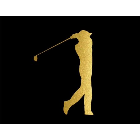 Golfer Sticker (ND112G Golfer From Side View After Shot Decal Sticker | 5.5-Inches By 3.8-Inches | Car, Truck Van SUV Laptop Macbook Decal | Gold)