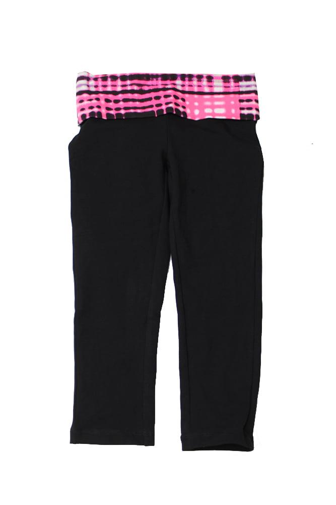 Material Girl Juniors Black Pink Printed Foldover-Wais Cropped Leggings XXS