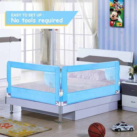 HK 56in Bed Rail Safety Bed Rails Hide Away , Mesh Guard Rails for Crib, Kids, etc. Bed Guard Protection, White