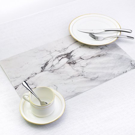 2PCS/SET Marble Pattern Anti-Slip Heat Insulated PVC Dining Table Kitchen Coffee Tea Place Mat Tableware Pad Mat - image 2 of 6