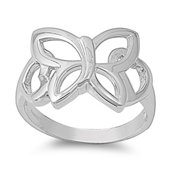 Simple Butterfly Cutout Filigree Wings Ring .925 Sterling Silver Band Size 10