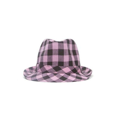 Plaid Trilby Fedora Hat](Pink Trilby)