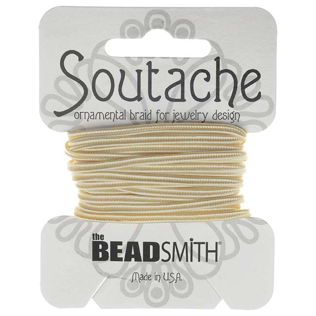 BeadSmith Soutache Braided Cord 3mm Wide - Linen White (3 Yard Card)