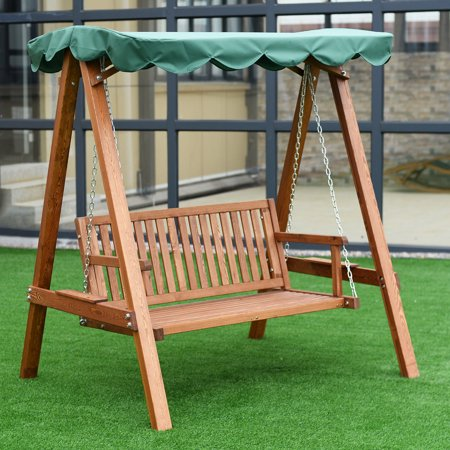 Costway Outdoor 2 Person Larch Wooden Swing Loveseat