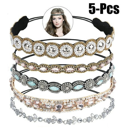 Justdolife 5PCS Rhinestone Headband Fashionable Handmade Crystal Hair Band Wedding Bridal Bohemian Gatsby Headband Headwrap for Women