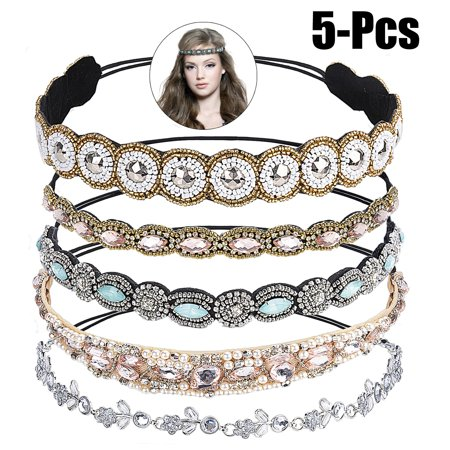 Justdolife 5PCS Rhinestone Headband Fashionable Handmade Crystal Hair Band Wedding Bridal Bohemian Gatsby Headband Headwrap for Women Girls (Dress Hair Band)