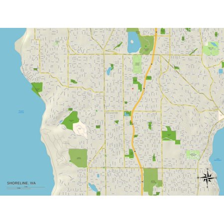 Political Map of Shoreline, WA Print Wall Art