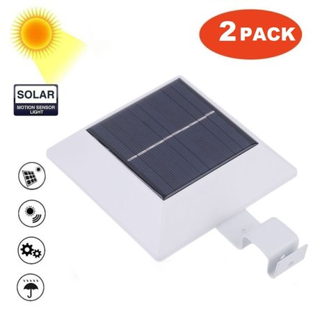 2pack Solar Lights Motion Sensor 4 Led Outdoor Gutter