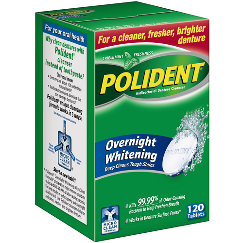 Polident Overnight Whitening Antibacterial Denture Cleanser, 120 count