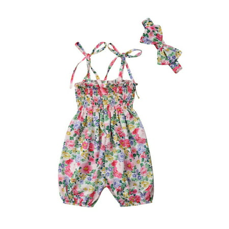 Boutique Toddler Kids Baby Girls Strap Flower Romper Jumpsuit Playsuit Outfit Clothes - Boutique For Children