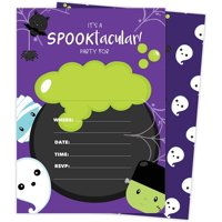 Halloween Boy 1 Happy Birthday Invitations Invite Cards (25 Count) With Envelopes and Seal Stickers Vinyl Girls Boys Kids Party (25ct)