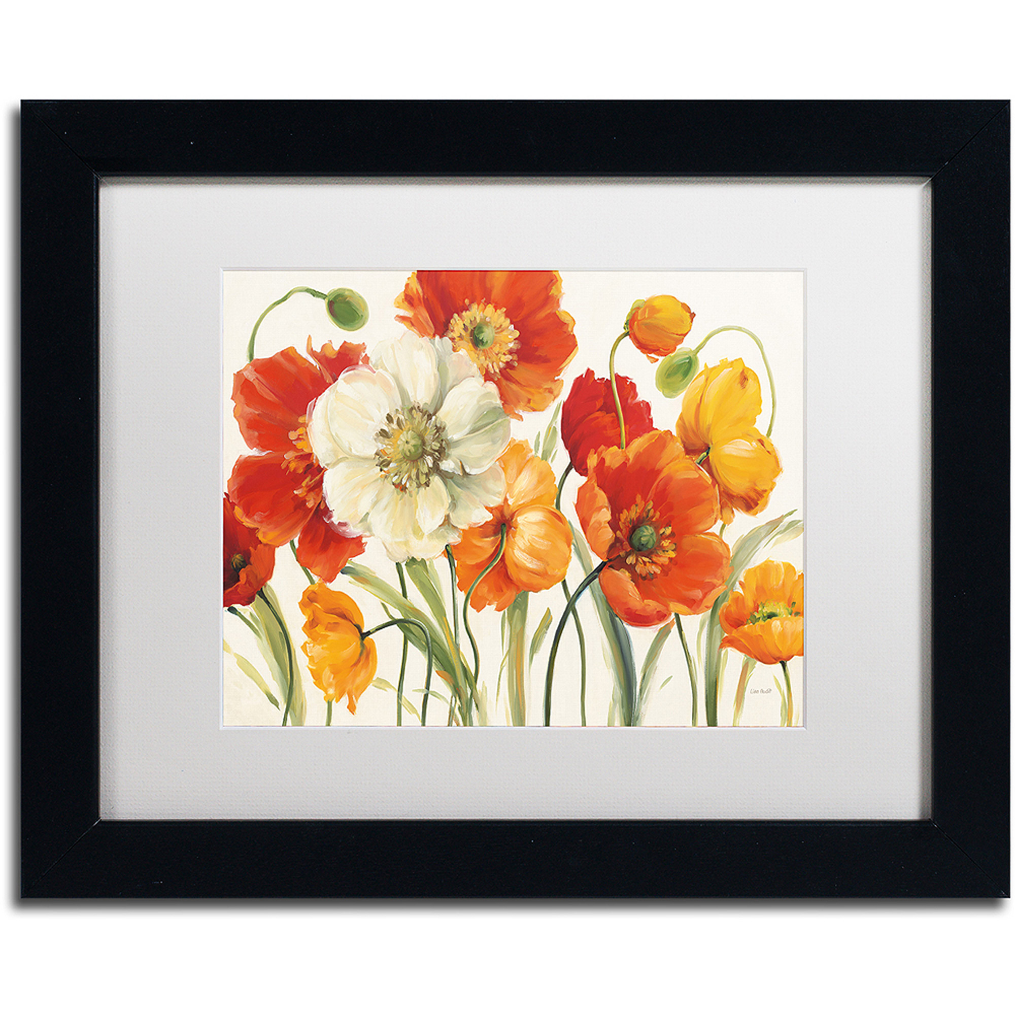 "Trademark Fine Art ""Poppies Melody I"" Canvas Art by Lisa Audit, White Matte,... by Trademark Global LLC"