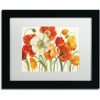 "Trademark Fine Art ""Poppies Melody I"" Canvas Art by Lisa Audit, White Matte, Black Frame"