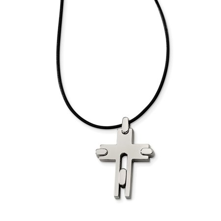 Titanium leather cord cross necklace 34x24mm 18 inches walmart titanium leather cord cross necklace 34x24mm 18 inches aloadofball Images