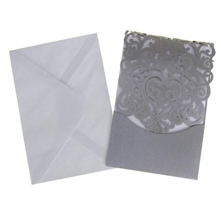 Blank Invitations Rectangle Laser Cut Design, Silver, 7-1/4-Inch, 8-Count - Blank Invitations