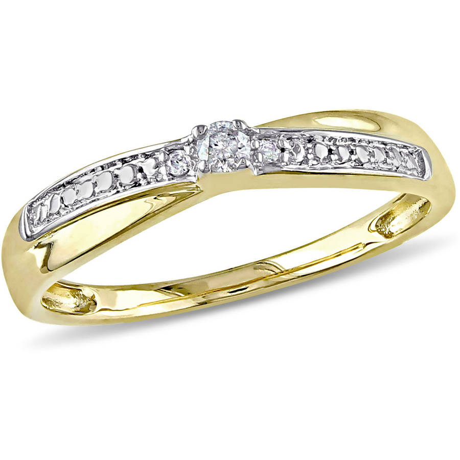 Miabella Diamond Accent 10kt Yellow Gold Cross-Over Promise Ring