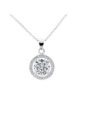 Cate & Chloe Blake True 18k White Gold Halo Pendant Necklace, Silver CZ Solitaire Necklace - msrp $99