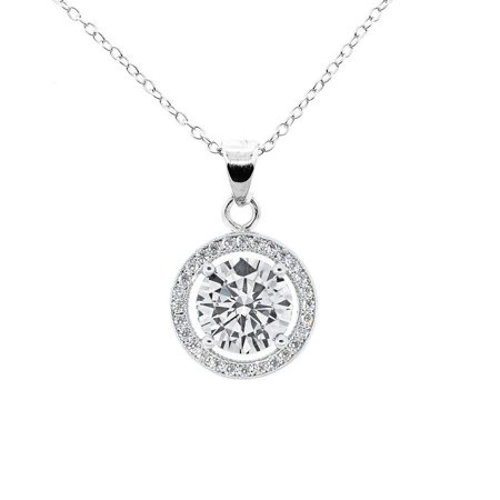 Cate & Chloe Blake True 18k White Gold Halo Pendant Necklace, Silver CZ Solitaire Necklace - msrp $99 ()