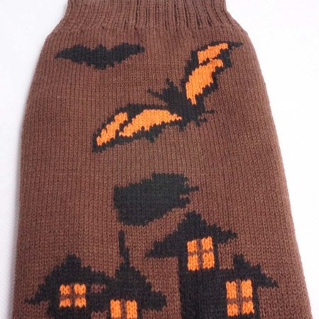 Mosunx Halloween Brown Bats Castle Style Pet Dog Cute Clothes Puppy Winter Sweater - Winter Park Halloween Dog Contest