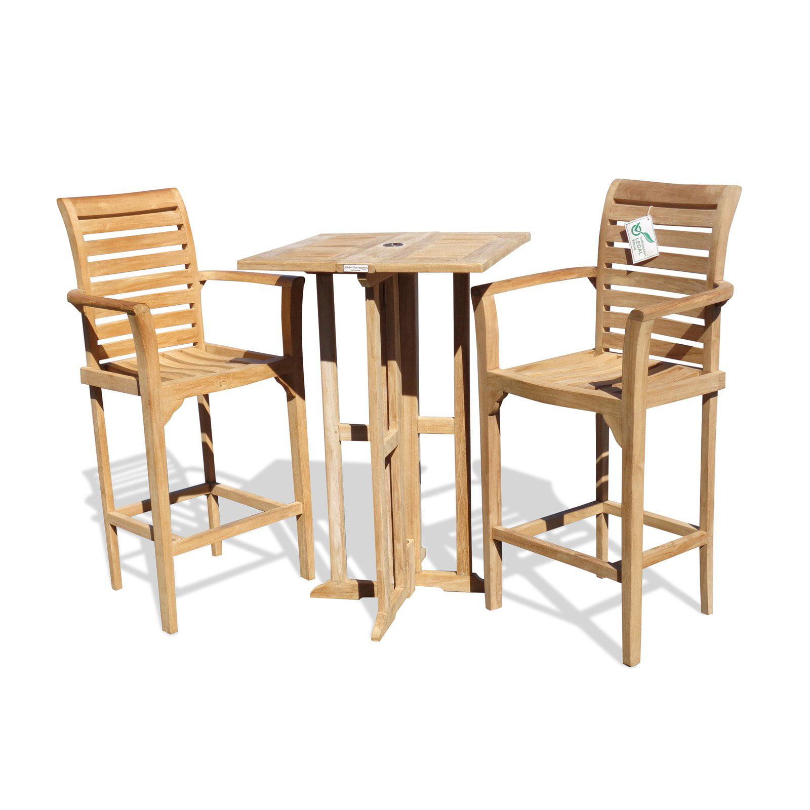 Windsor Teak Furniture Bimini Counter Height Teak 3 Piece Dining Room Set by Windsor Teak Furniture