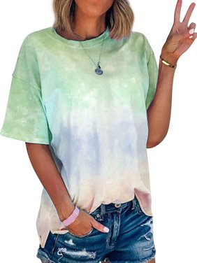 Women Short Sleeve Crew Neck Tie Dyed Shirt