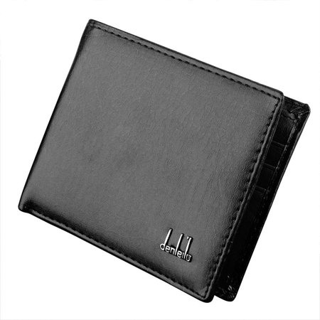 Black Mini Wallet - Synthetic Leather Wallet For Men Purse Credit ID Cards Money Holder Money Pockets 2 Colors OCTAP