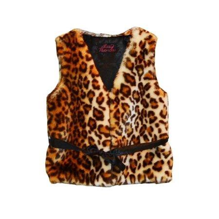 Girls Brown Leopard Faux Fur Vest 10-12](Girls Fur Vest)