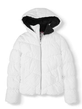 Pink Platinum Juniors' Quilt Puffer with Sherpa Hood