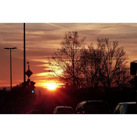 Canvas Print Back Light Winter Sun Red Winter Morning Sun Stretched Canvas 10 x