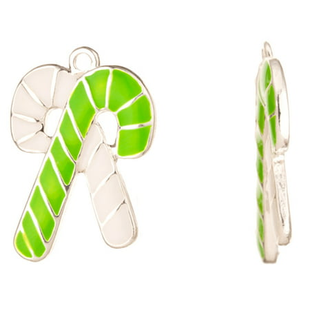 Enamel Drop, White And Green Cross Candy Stick Silver Plated