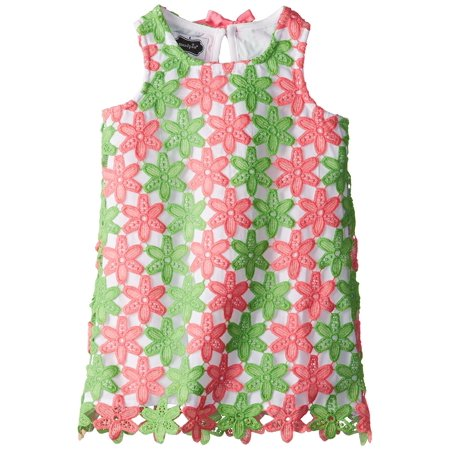 Little Girls Crochet Flower Dress  Pink Green  2T  A Perfect Springtime Ensemble Fit For Easter Or Any Other Special Occasion By Mud Pie