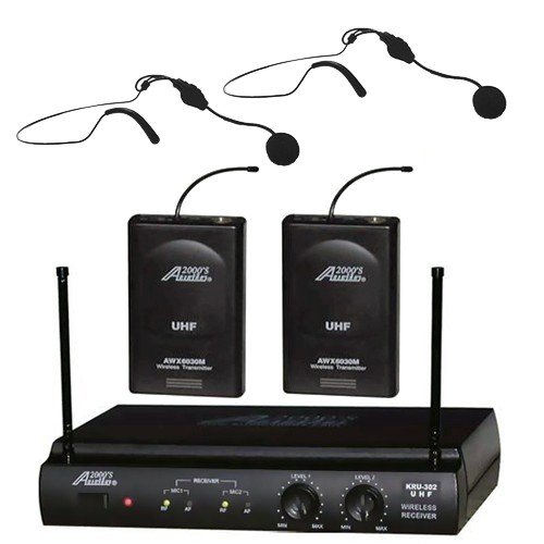 Audio2000 Awm6032uh UHF Dual Channel Wireless Microphone System with Two Headset Mic by