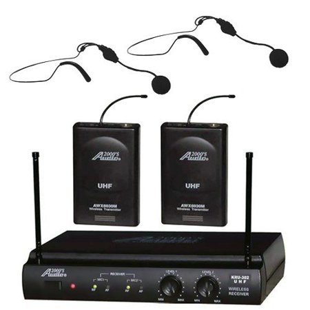 audio2000 awm6032uh uhf dual channel wireless microphone system with two headset mic. Black Bedroom Furniture Sets. Home Design Ideas