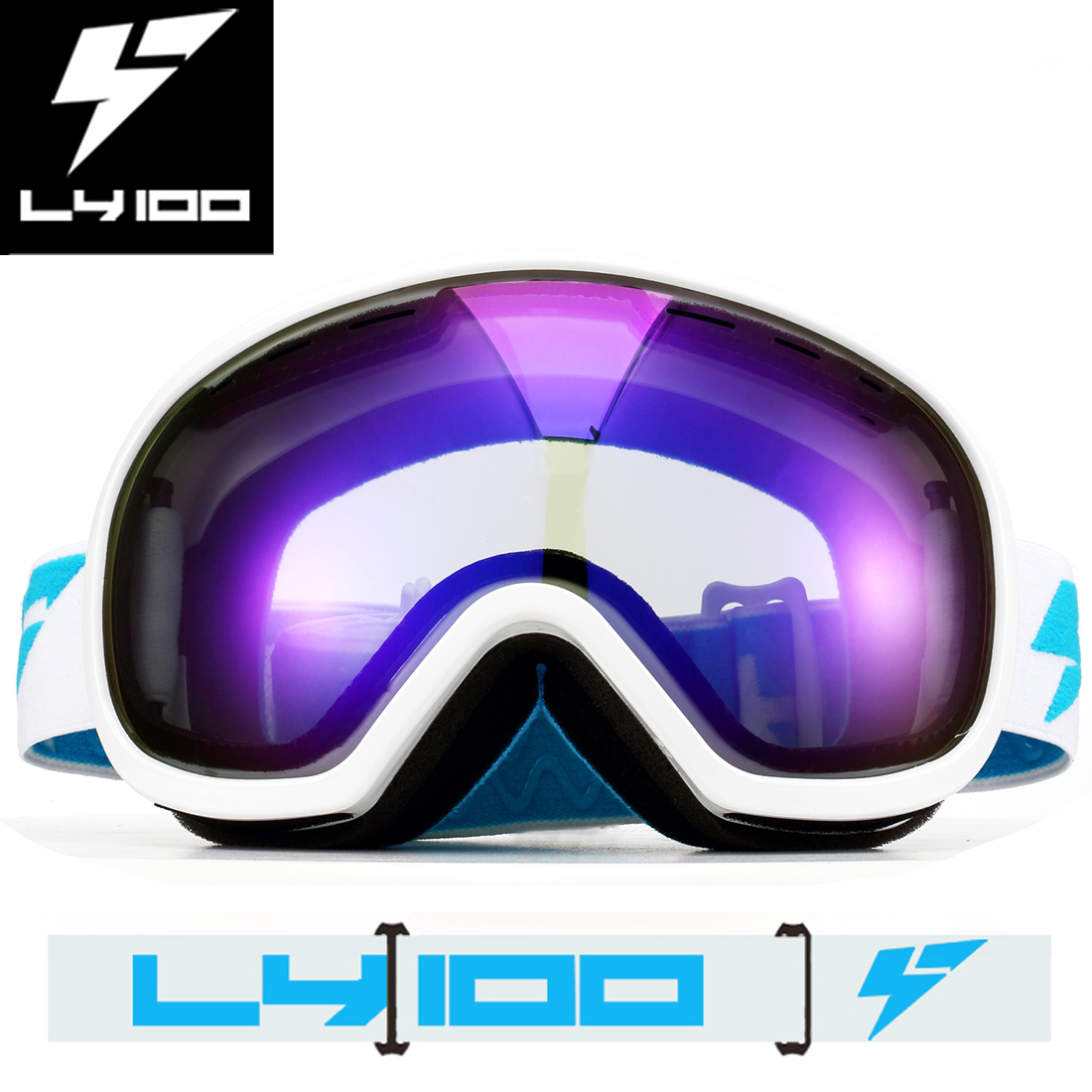 LY-100 Ski Goggles Snowboard Glasses Anti-fog UV400 Protect Anti-slip OTG HD Lens by