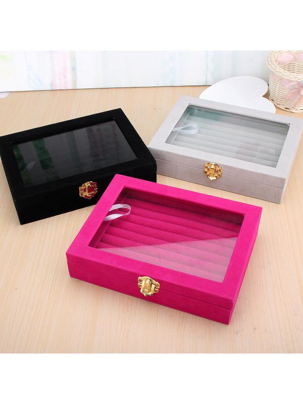 New Velvet Glass Jewelry Ring Display Organizer Tray Case Holder