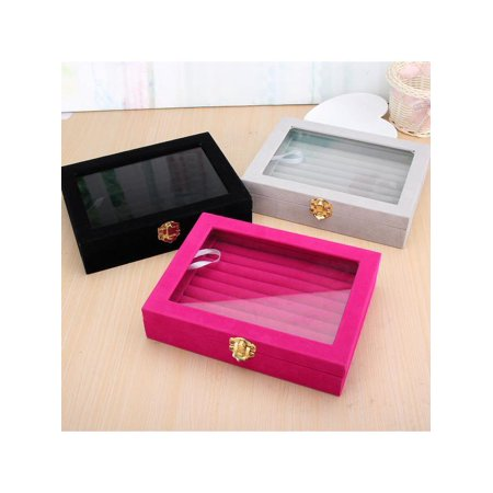 New Velvet Gl Jewelry Ring Display Organizer Tray Case Holder Earring Storage Box