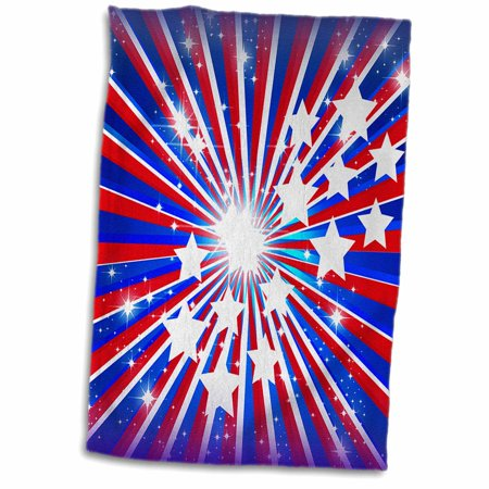 3dRose Red White And Blue USA Patriotic Sparkle Star Burst For Independence Day Fourth of July - Towel, 15 by (Sparkle Burst Brads)
