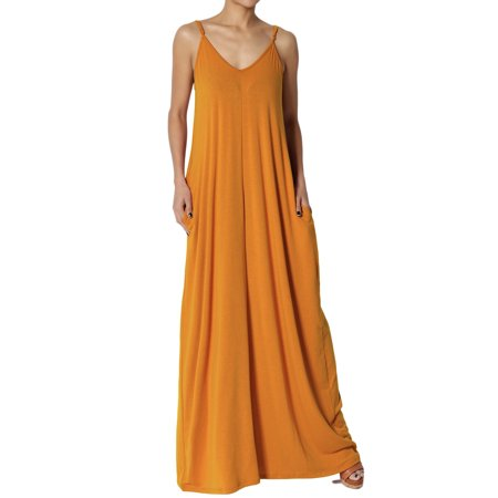 TheMogan Women's PLUS V-Neck Jersey Casual Beach Cami Long Maxi Dress W Pocket - Jersey Deep V-neck Dress