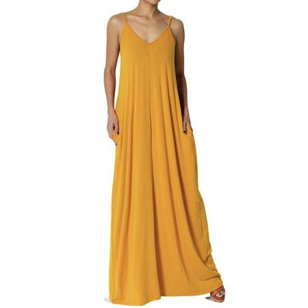 TheMogan Women's PLUS V-Neck Jersey Casual Beach Cami Long Maxi Dress W -