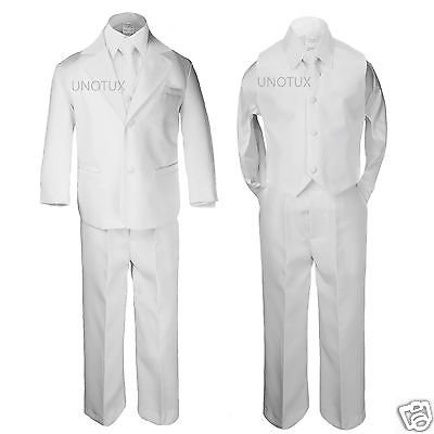 NEW TODDLER & BOY WEDDING 1ST COMMUNION PARTY FORMAL TUXEDO SUIT WHITE SZ: S-20 (First Communion Boy Clothes)