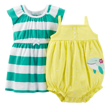 Carters Infant Girls Yellow Polka Dot Whale & Green Stripe Dress & Sunsuit Set