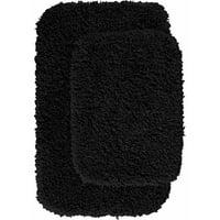 Product Image Serendipity Shaggy Nylon 2-Piece Washable Bathroom Rug Set. Product Variants Selector. Black