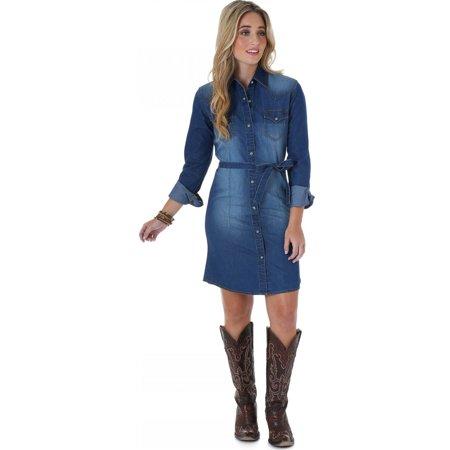 Wrangler Women's Long Sleeve Dark Denim Shirt Dress - (Dark Denim Dress)