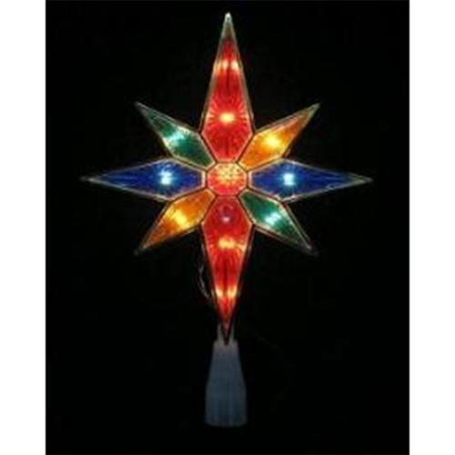 "11"" Lighted Multi-Color Bethlehem Star with Gold Trim Christmas Tree Topper"